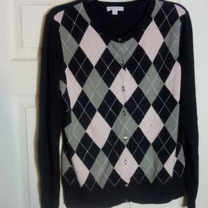 XL Baby Pink and Grey Argyle Cardigan